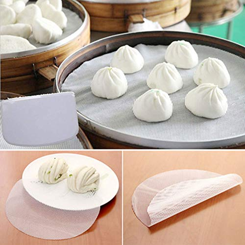 4Pcs 11inch Kitchen Non-Stick Silicone Steamer Mesh Non-stick Pad Dumplings Mat/Silicone Steamer Mesh/Pad Reusable, Permeable with Dough Scrapers