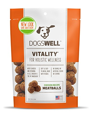 DOGSWELL VITALITY CHICKEN MEATBALLS 5 OUNCE NATURAL HEALTHY MADE IN USA (1 BAG) -