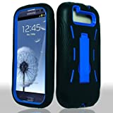 Blue Hard Case and Black Silicone Skin Dual Combo 2-in-1 with Kickstand / Kick Stand Snap-On Protective Cover Cell Phone for Samsung© Galaxy S 3 III / S3 / i9300 i-9300