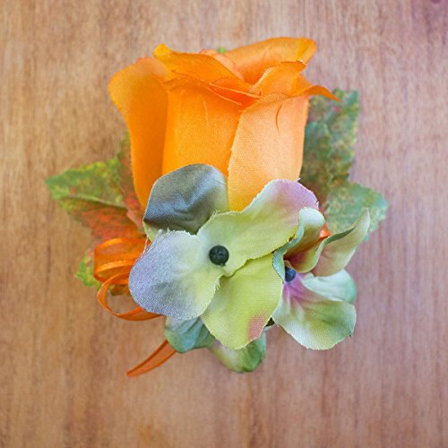 4 pcs Orange Silk Rose with Green Hydrangea and Fall Leaves Boutonniere - Wedding Flowers by BalsaCircle