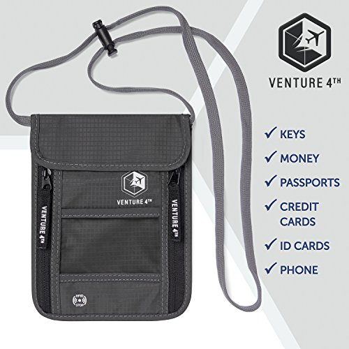 51x1wFuGbdL - Venture 4th Travel Neck Pouch With RFID Blocking - Travel Wallet Passport Holder (Grey)