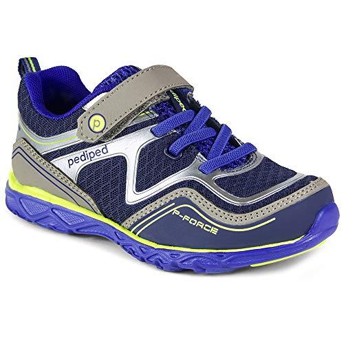 pediped Force Sneaker, Blue/Silver, 32 E EU/1Y E US Little Kid (Ebay American Girl)