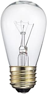 Pack of 25 S14 Commercial Grade Glass Light Bulbs 11 Watt Clear Glass Warm Incandescent Replacement Bulbs Fits E26 and E27 Base For Patio String Lights