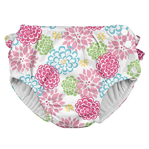 i play. Toddler Girls' Ruffle Snap Reusable Absorbent Swimsuit Diaper, White Zinnia, 4T
