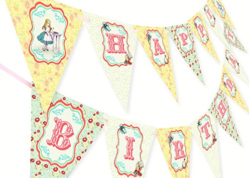 Alice in Wonderland Happy Birthday Banner -