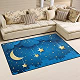 Naanle Star Area Rug 3'x5′, Moon and Skyline Polyester Area Rug Mat for Living Dining Dorm Room Bedroom Home Decorative