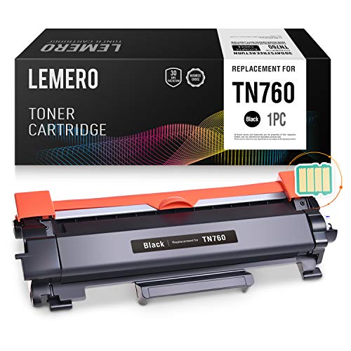 LEMERO (with IC CHIP) Compatible Brother TN760 TN730 High Yield Black Toner Cartridge - for Brother HL-L2350DW HL-L2395DW DCP-L2550DW MFC-L2710DW MFC-L2750DW by Lemero