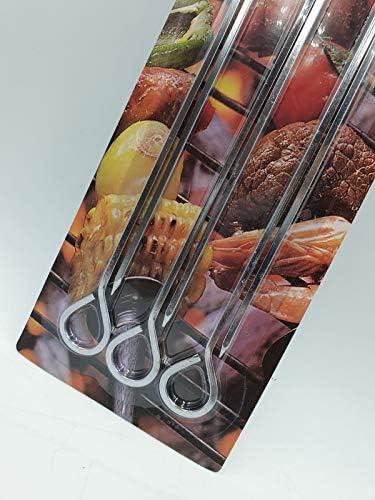 Accessoires pour barbecue Brochettes en acier inoxydable (6 pièces) Grandes brochettes en métal pour barbecue | Brochettes en métal pour barbecue