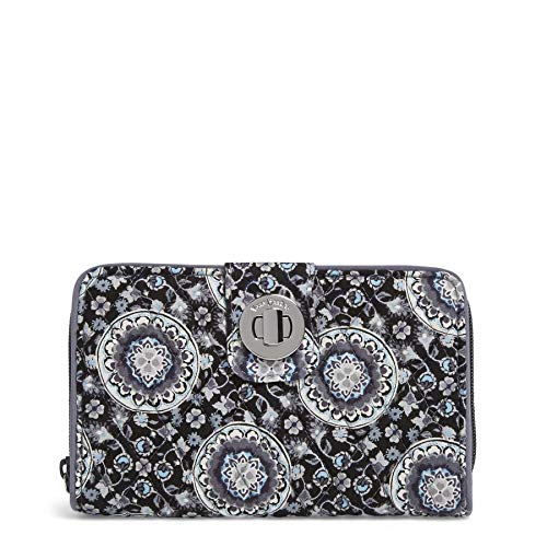(Vera Bradley RFID Turnlock Wallet, Signature Cotton, charcoal medallion)