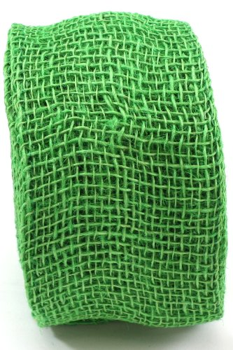 Apple Burlap Ribbon - Kel-Toy Jute Burlap Ribbon Roll, 4-Inch by 10-Yard, Apple Green