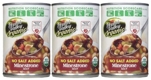 - Health Valley Organic Minestrone Soup, No Salt, 15 oz, 3 pk