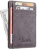Travelambo Front Pocket Minimalist Leather Slim Wallet RFID Blocking Medium Size (Kingo Grey)