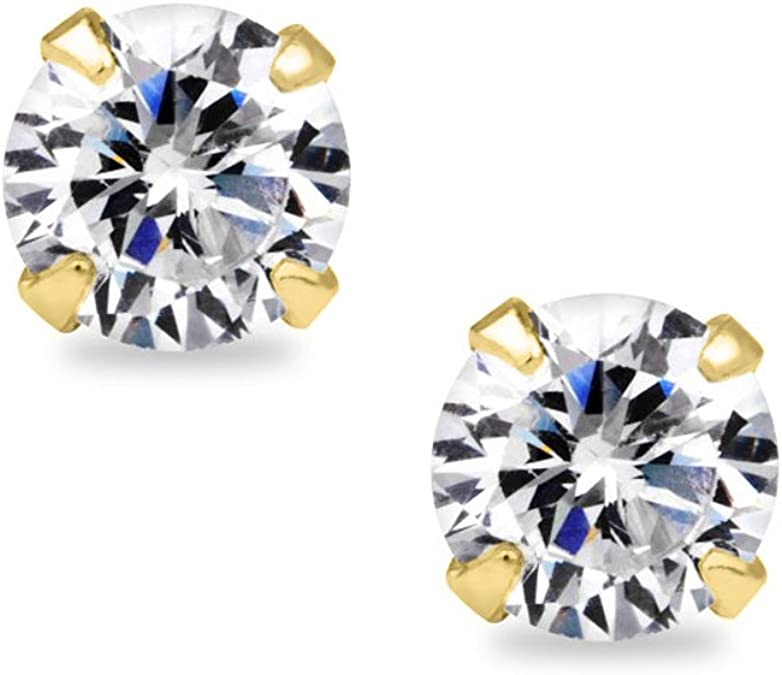 Details about  /4.00 Carat Round Cut Birth Gemstone 6 Prongs Stud Earrings in Sterling Silver