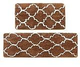 Kitchen Rug Set, LEEVAN Moroccan Kitchen Comfort Mat Super Soft Rug Microfiber Area Runner Rugs Non-Slip Backing Washable Bathroom Rug Shower Floor Mat Set of 2 Pcs