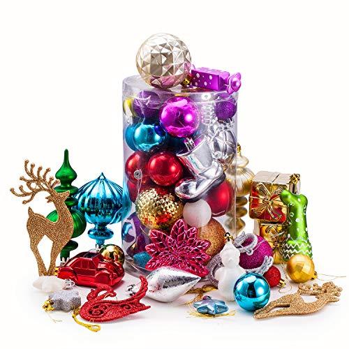 Chnaivy 40 Pcs Assorted Shatterproof Christmas Ball Ornaments, Random Quantity Decorative Baubles Pendants with Storage Box for Xmas Tree (Cylinder)