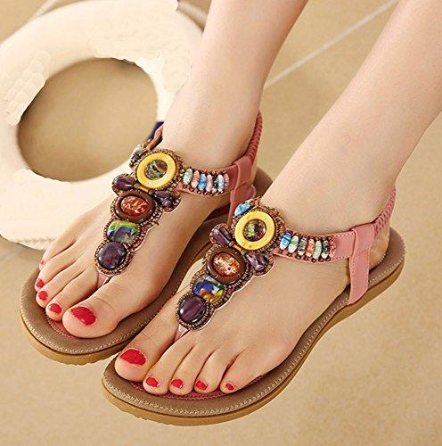 Easemax Womens Casual Open Teen T-strap Elastische Enkelbandje Kralen Boho Sandalen Thong Flats Roze