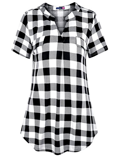 (Le Vonfort Womens Tops and Blouses, Ladies Boutique Clothing Fashion Notch Collar Shirt Split V Neck Short Sleeve Pullover Tunic Basic Comfort Lightweight Plaid Tshirt Black White Medium)