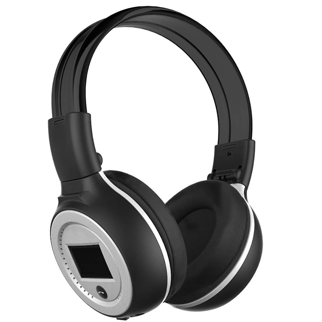 Barcley Hybrid Active Noise Cancelling Headphones, Bluetooth Headphones Over Ear with Hi-Fi Deep Bass, LCD Screen Display, Wired + Wireless Dual Use, Buttons Control, 12H Playtime for TV Work (Silver)