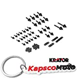 Krator 1999-2007 Suzuki Hayabusa GSXR 1300 Black Billet Aluminum Spike Fairing Bolts Motorcycle Frame Bolts Sports Street Bike + KapscoMoto Keychain