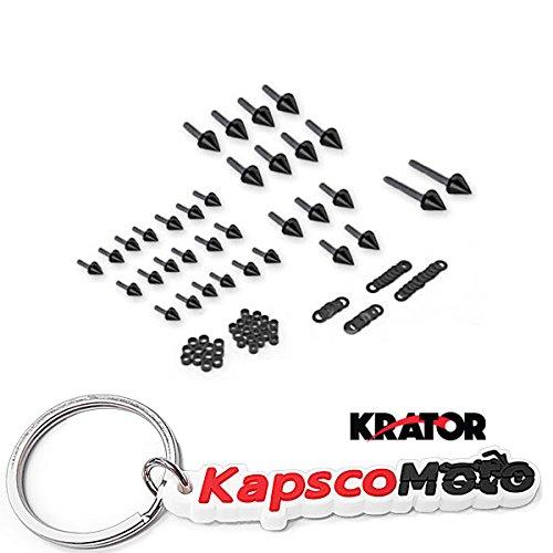 Krator 1999-2007 Suzuki Hayabusa GSXR 1300 Black Billet Aluminum Spike Fairing Bolts Motorcycle Frame Bolts Sports Street Bike + KapscoMoto Keychain ()