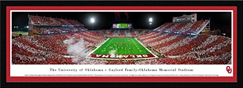 Oklahoma Football - End Zone-Stripe - Blakeway Panoramas College Sports Posters with Select Frame