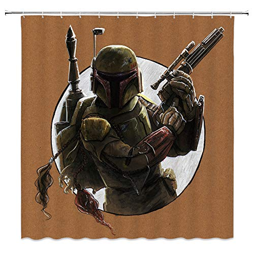 AMNYSF Warrior Holding Gun Shower Curtain Army Soldier with Protective Armor Hand Drawing Decor Fabric Bathroom Curtains,Waterproof Polyester with Hooks 70x70 Inch