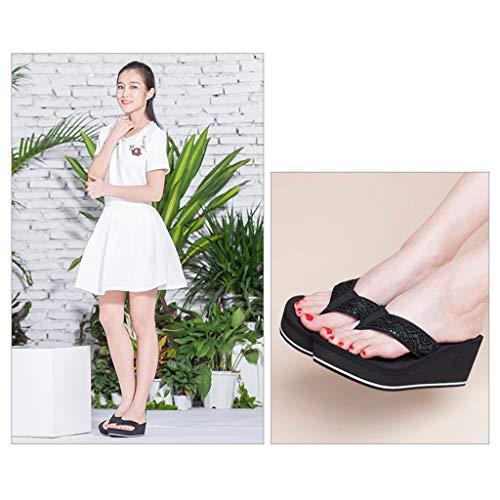 Nero Piattaforma Fondo Aminshap Spesso Muffin Infradito Sandali Da Antiscivolo Spiaggia Dimensioni Donna Pantofole Con Nero 35eu colore Impermeabile 16g5v5qw
