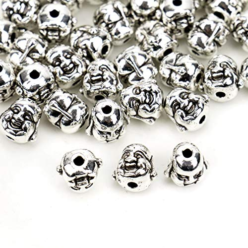 (JETEHO 40PCS Metal Laughing Buddha Head Spacer Beads for Jewelry Making Bracelet)