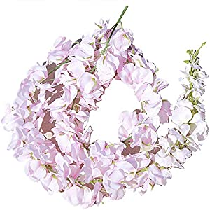 SODIAL 11 Pcs Artificial Flower Wisteria Vine 120Cm Single Silk 140 Flowers Series DIY Plant Wedding Decoration for Wall Background Light Pink 98
