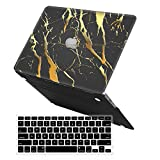 iCasso 2 in 1 Macbook Air 13 Inch Case Durable Rubber Coated Plastic Cover For Macbook Air 13 Inch Model A1369/A1466 With Keyboard Cover (Black Gold Marble)