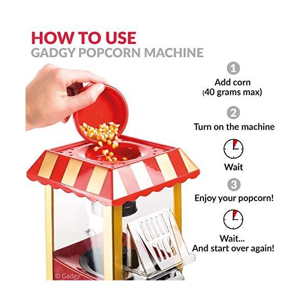 Gadgy Popcorn Machine - Retro Macchina Pop Corn Compatta, Aria Calda Senza Olio Grasso 5