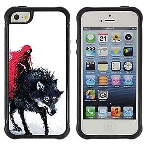 LASTONE PHONE CASE / Suave Silicona Caso Carcasa de Caucho Funda para Apple Iphone 5 / 5S / Red Cape Riding Hood Death Werewolf