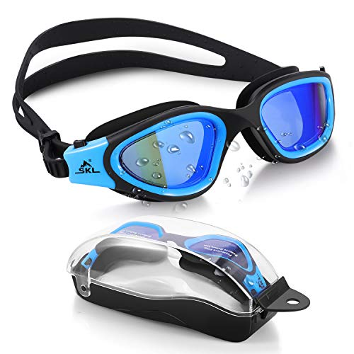 SKL Swim Goggles Recreation Watertight Swimming Goggles Wide View Swim Goggles with No Leaking Anti Fog UV 400 Protection Lens and Protection Case for Adult Men Women Youth Teens
