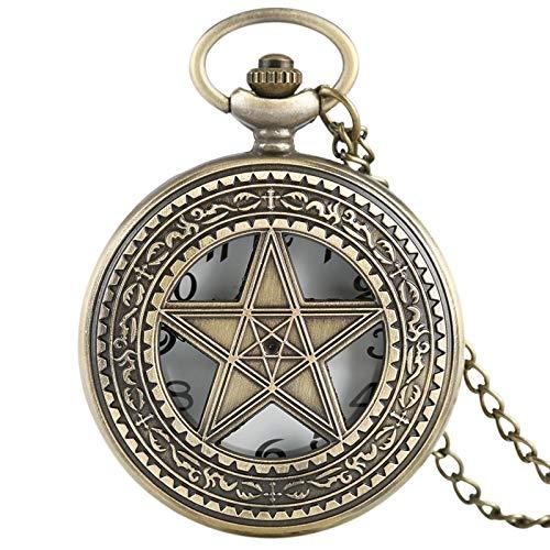 (Pentacle Witch Gothic Pewter Quartz Pocket Watch  Vintage Necklace  Men Women Children Gift Stylish Pendant   Men's Pocket Watches)