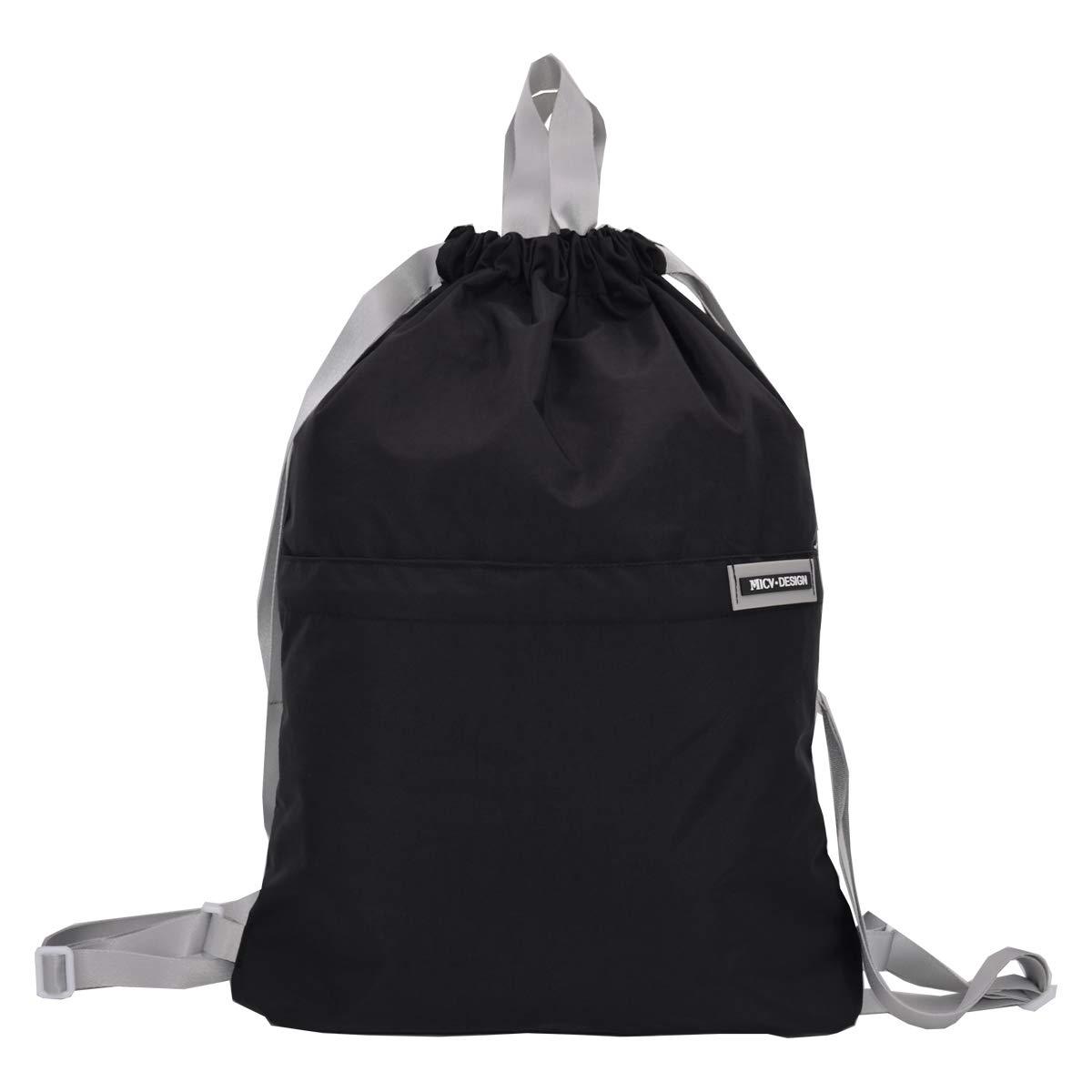 MICV Drawstring Backpack Sport Bag - Sack Back Bag Sports Waterproof Gym Backpack(17.3 x 14.2 in,Black)