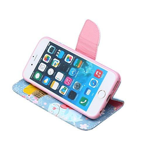 Funda iPhone 6/6S, Apple iPhone 6/6S Carcasa Funda Cuero [Pluma Libre] Apple iPhone 6/6S Case Book Estilo Libro billetera con correa de cordón Magnético Folio Flip Caso pata de cabra titular de la tar Gato