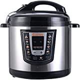 Costway Electric Pressure Cooker Brushed Stainless Steel and Aluminum, 120 V 60 Hz, 1000W, 6 quart