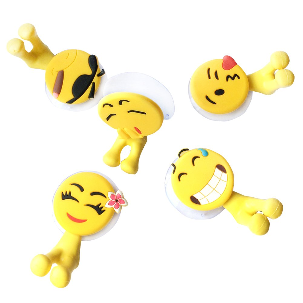 FELSAAY Toothbrush Holders Set Wall , Creative Emoji Wall Hanging Antibacterial Toothbrush Cover Holder with Suction Cup, Set of 5