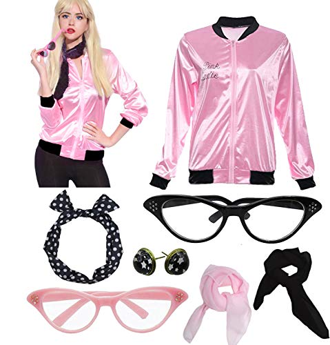 Womens Grease Pink Ladies Satin Jacket Costume with 50s Accessories Set (L, Pink and (Grease Pink Ladies Jacket Costume)