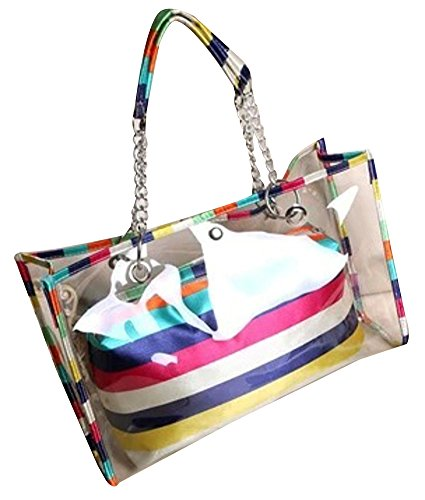 ilishop Women's Clear Colorful Top Handle Handbags Beach Bags PVC Tote Shoulder Bag - Handbags Colorful Coach