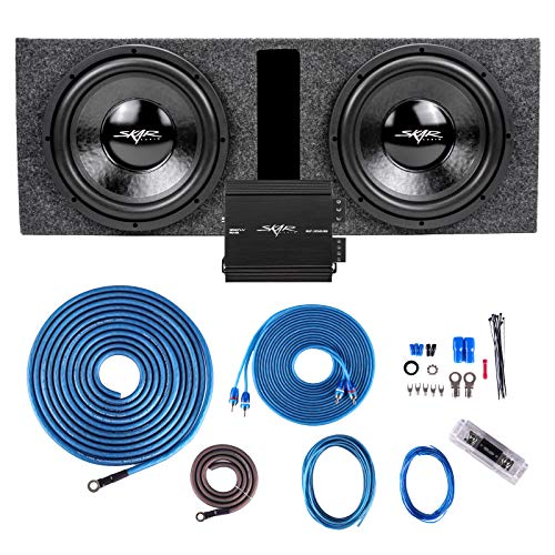 """Skar Audio Dual 12"""" Complete 1000 Watt Subwoofer Bass Package - Includes Subwoofers in Ported Box with Amplifier"""