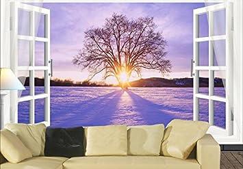 Sykdybz Wallpaper Für Wände 3D Home Dekoration Winter Sonne Baum Wohnzimmer  Sofa Hintergrund Wandbild 3D Wallpaper