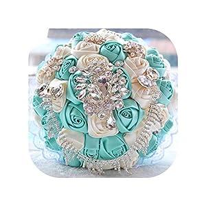 meiguiyuan Satin Wedding Flowers Rhinestone Jewelry Purple Pink Brooch Bouquet Blue Broach Bridal Wedding Dress Wedding Bouquet 77