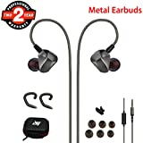 Cool Earbuds, Wired Stereo Bass Over Ear Full Metal Cords Earphones with Noise Isolating Microphone, Remote, Case, Earhook, Comfortable In Ear Headphones for Running Sport Workout GYM Fitness Exercise