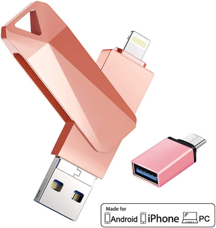 OTG Pen Jump Drive Adapter USB Memory Stick External Storage for iPhone iPad Android Phones with Micro USB,Type-C Port 4 in 1 OTG Flash Drive 256GB, Pink