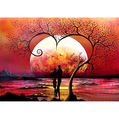 FORESTIME 5D Diamond Painting Full Drill Kits,Moon Tree 5D DIY Diamond Paints By Number Kits Embroidery Rhinestone Pasted Wall Decor,Stamped Cross Stitch Kits