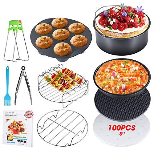 8 Inch Air Fryer Accessories, Set of 10, XL Air Fryer Accessories with Recipe Cookbook for Gowise Phillips USA Cozyna Airfryer, Fit all 3.7QT-5.3QT-5.8QT-6.8QT, FDA Approved, BPA Free