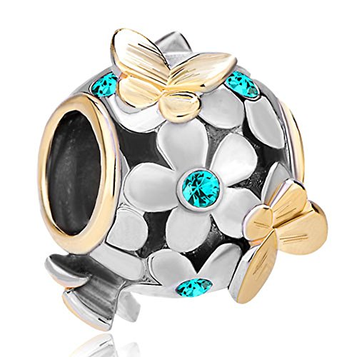 Pugster 22K Gold Plated Peridot Green Flower Golden Butterfly Charm Bead Fits Pandora Bracelet (Blue)