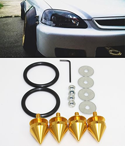 Cuztom Tuning Gold JDM Spiked Spike Bumper Quick Release Fastener Car Trunk Fender Hatch Lids Kit