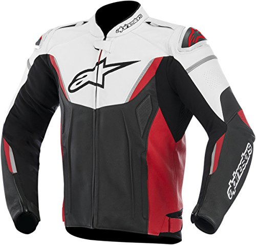Alpinestars GP-R Leather Men's Riding Jacket (White/Black/Red, Size 48)